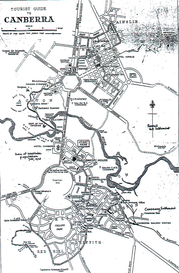 1933 Tourist Map Canberra